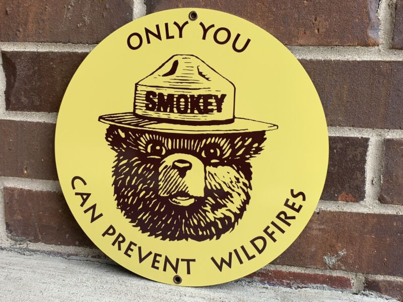 Smokey The Bear Prevent Wildfires Vintage Style Metal sign