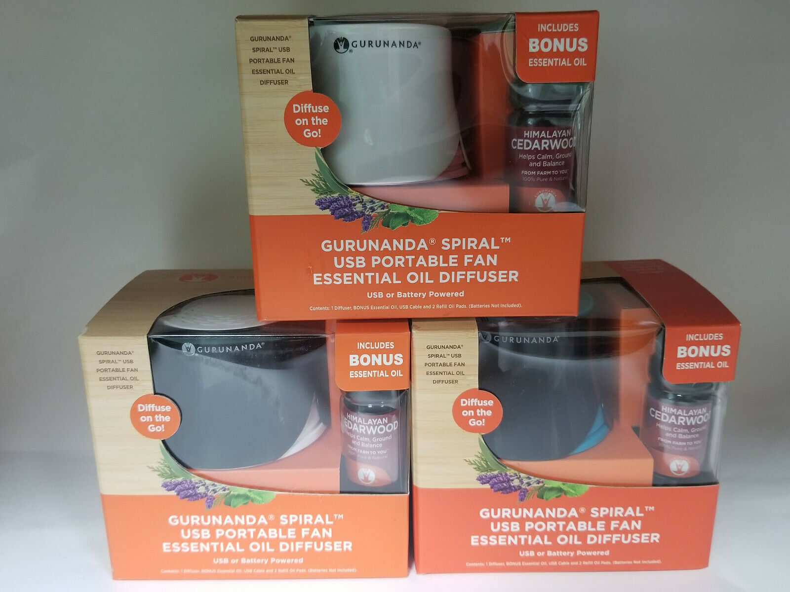 GuruNanda Spiral USB Portable Fan Essential Oil Diffuser w/