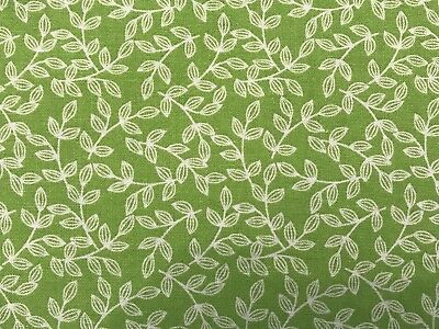 Lime Green FQ Fat Quarter Fabric Stem Leaves 100% Cotton Quilting