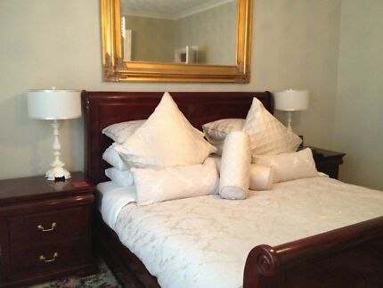 King Size Mahogany Bedroom Suite inc. Side Tables and Tall Boy
