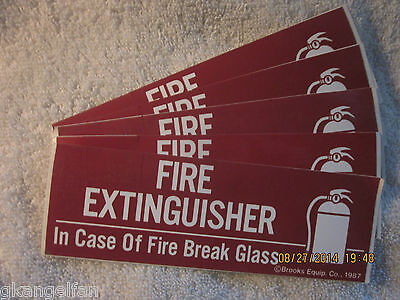 Lot Of-5 Fire Extinguisher-break Glass Self-adhesive Vinyl Signs 2 X 6 New