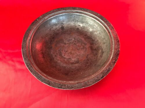 ANTIQUE OTTOMAN ISLAMIC COPPER BOWL PLATE TUGHRA FLORAL ENGRAVING ALL AROUND