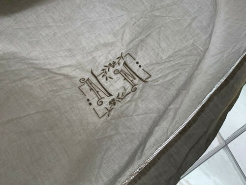 Vintage French Linen & Cotton Sheet NM monogram 80X124 inches White Tone Fabric