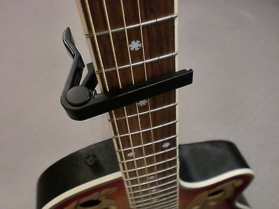 EASY RELEASE BLACK ALLOY TRIGGER ACTION GUITAR CAPO - FITS ACOUSTIC & ELECTRIC