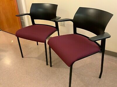 Steelcase Waiting Room Two Chairs - Maroon Color Cloth Fabric No Stains