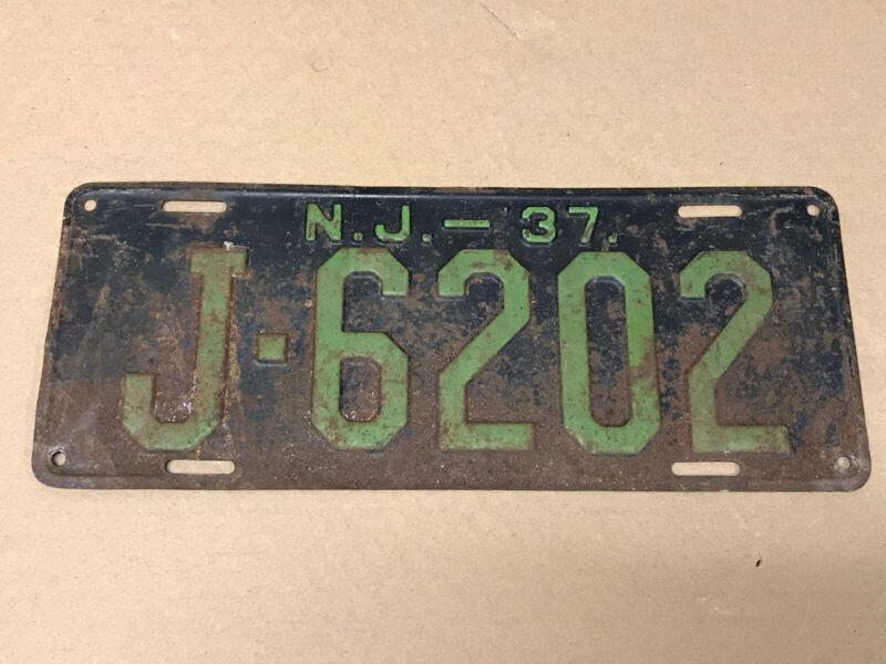 Antique Vintage 1937 New Jersey License Plate J-6202 J 6202