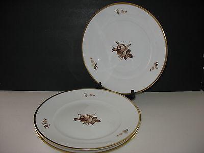 "Royal Copenhagen BROWN ROSE Set of 3 Large Dinner Plates 10.75""  785  688"