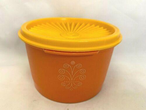 Vintage Tupperware with Sunburst with Yellow Lid Orange Servalier