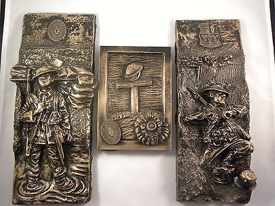 ULSTER VOLUNTEER FORCE / 36th ULSTER DIVISION WALL PLAQUES  FULL SET OF THREE