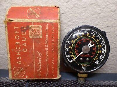 Vintage Ashcroft Industrial Steampunk Pressure Temperature Steel Gauge With Box