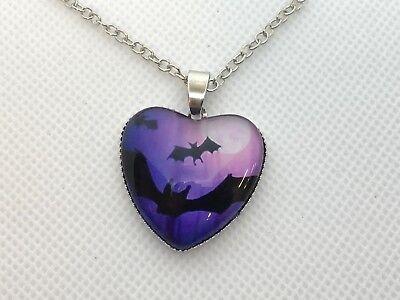 HALLOWEEN BAT heart shape NECKLACE gift  fun autumn fall fashion jewelry #63
