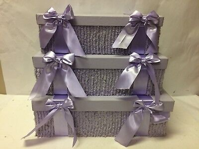 - Rectangular Gift Nesting Boxes with Ribbon Set of 3 (Lavender) 13