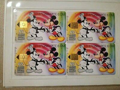 TK Telefonkarte/Phonecard Set 4x6DM Micky Maus im Folder neu sehr selten