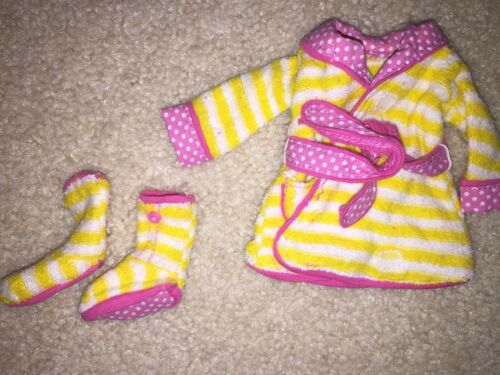 Lalaloopsy Clothes Clothing Bath Robe Slippers Yellow Pink Stripe CUTE - $8.99
