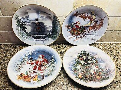 Pottery Barn NOSTALGIC Christmas Salad Plates SET 4 Mixed Santa Train Tree New
