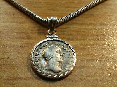 """Silver Roman Denari Pendant on a Designer 15"""" Silver Italian Milor .925 Chain."""