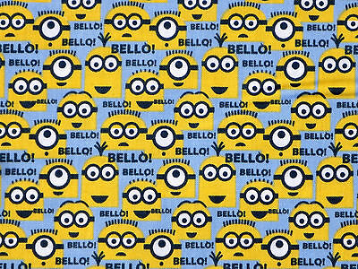 FAT QUARTER DESPICABLE ME MINION BLUE MINIONS 100% COTTON FABRIC VIP CRANSTON - Despicable Me Fabric