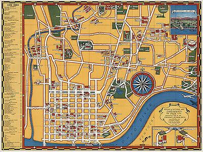 1938 Historical Pictorial Map Cincinnati the Queen City Genealogy Wall Poster