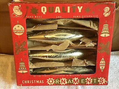 WOW 10 Boxes Vintage Teardrop Christmas Tree Ornaments Germany Gold Swiggle Bulb ()