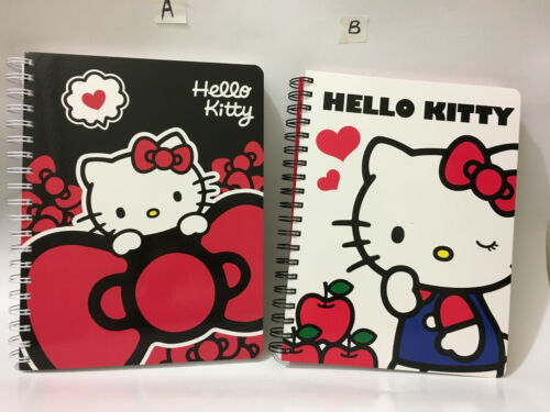 Spiral Note Book 90 Sheets: Big Red Bow Kitty or Blue Outfit Apple Kitty
