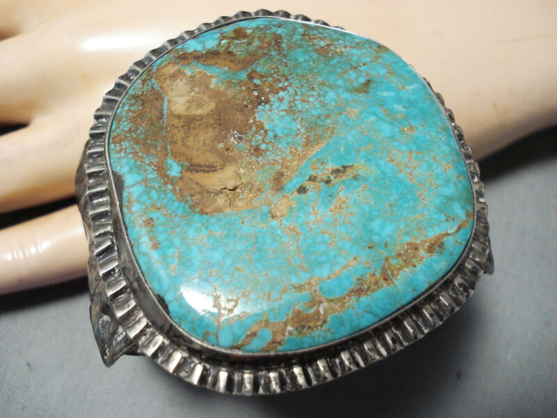 ONE OF BIGGEST BEST VINTAGE NAVAJO ROYSTON TURQUOISE STERLING SILVER BRACELET
