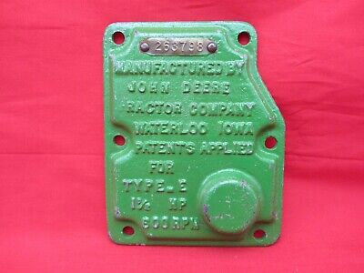 Vtg John Deere 1-12 Hp Type E Hit Miss Engine Governor Cover Brass Tag Serial