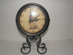 VINTAGE  TWO SIDED WROUGHT IRON WINE BOTTLE MANTEL/SHELF/DESK CLOCK