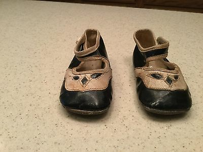 Vintage Children's Button Shoes Used Girls Black and Cream Sandal