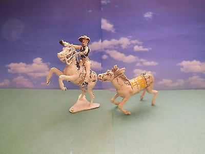 Vintage 60mm Cherilea Wild West Mounted Cowboy Plastic Toy Soldiers 1:32