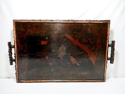 Large Antique Faux Burr Root Wood Framed & Footed Lacquer Tray with Handles