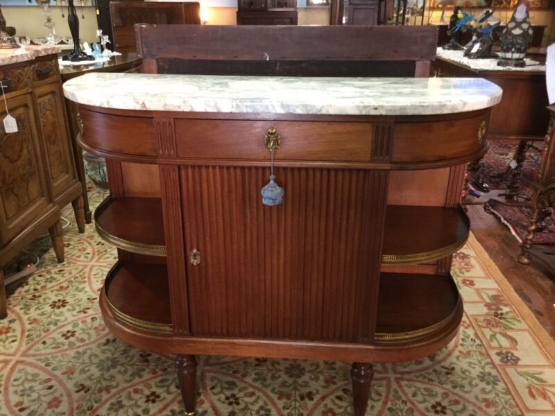 Antique Marble Walnut French Louis XV Style Chest Buffet Price Now $757.00