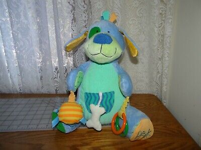 The Manhattan Toy Company Plush Stuffed Activity Blue Puppy Dog Teether Rattle - The Stuffed Dog Company
