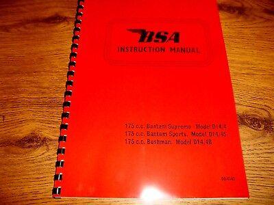 BSA Bantam Supreme, Sports, Bushman D14 Instruction Manual 1968 BH19/A4 00-4140