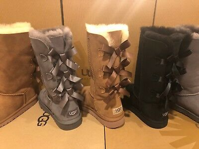 Ugg Girls Bailey Bow (New UGG Bailey Bow Tall Sheepskin Suede Boot Triplet Triple 1007309K Girls)