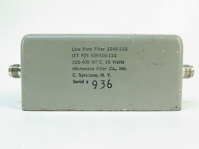 Microwave Filter Co. 2246-11g Low Pass Filter 225-400 Mhz 15 Watts 505516-11g