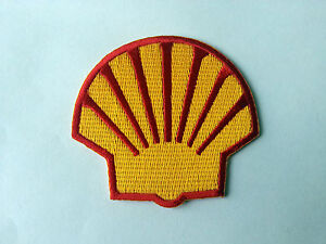 MOTORSPORTS RACING TYRE SEW ON / IRON ON PATCH:- SHELL (f) SUN CLAM RED TRIM