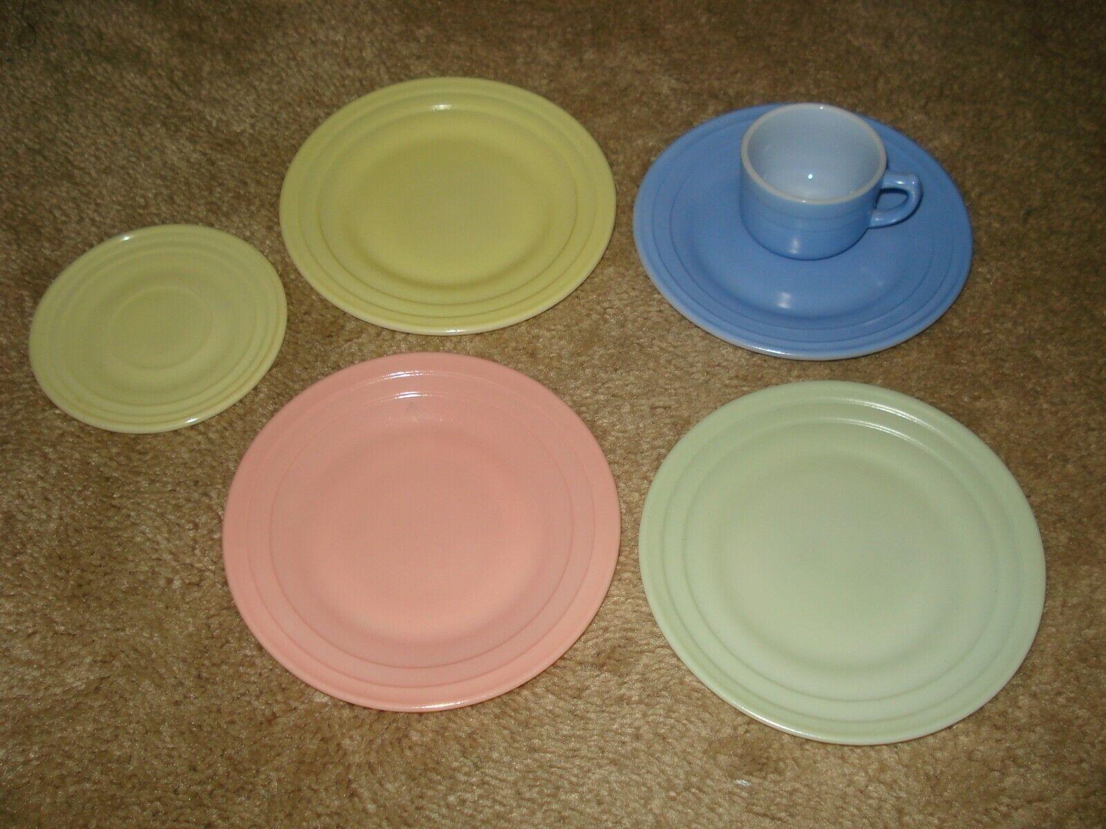 Vintage HAZEL ATLAS Milk Glass Childs Tea Set Pastel Cups Saucers Plate 6pc - $6.99