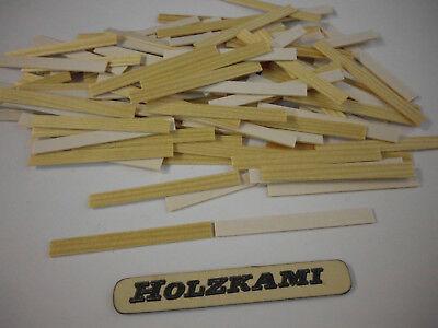 Holzleisten Kiefer. 100 Stück. 50mm x 10mm x 0.8mm  Selbstklebend  L/B/H  Neu
