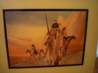 Jim Prindiville Southwest Native American Hunters Tile Art/Plaque Made In USA