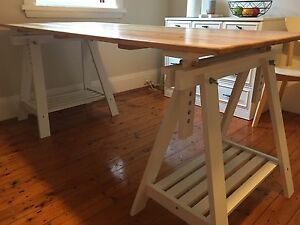 Wooden Trestle table/desk Waverley Eastern Suburbs Preview