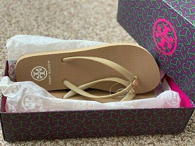 Tory Burch Classic Flip Flops Natural Brown Tan Sandals Shoes Size 7 NIB