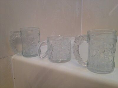 LOT OF 3 MCDONALDS BATMAN FOREVER 3D ENGRAVED FROSTED GLASS MUGS 1995 MOVIE