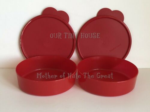 Tupperware Big Wonders Bowls Set 2 Cereal Salad Snack Containers Red 2-Cup  New