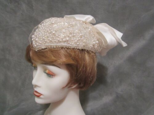 Frank Olive Private Collection white pearl, sequin, and bead veiled juliette cap