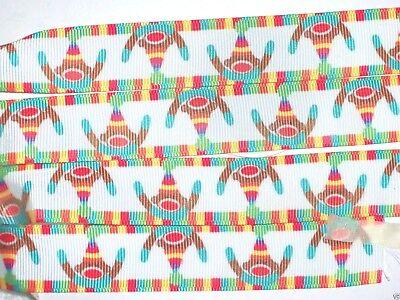 Sock Monkey Grosgrain Ribbon, Hair Bows, Pacifier Holder, DIY Crafts, 7/8