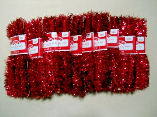 10 Packs Hoilday Time RED Tinsel Garland / 50 Yards !!! / NEW / USA