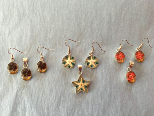 Sterling Silver Sets of pendants with earrings w/embedded wildflowers & starfish