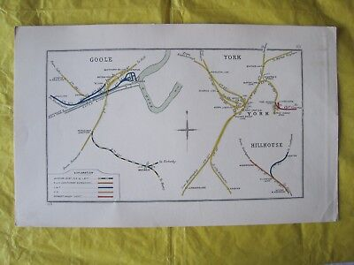 1914 RAILWAY CLEARING HOUSE Junction Diagram No.83 GOOLE/ YORK/ HILLHOUSE.