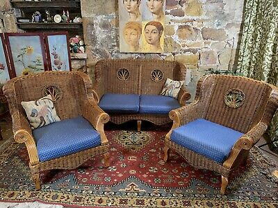 3 pce Cane Bamboo Lounge Suite~2 Seater Sofa + Chairs~Indoors/Outdoors~Hampton