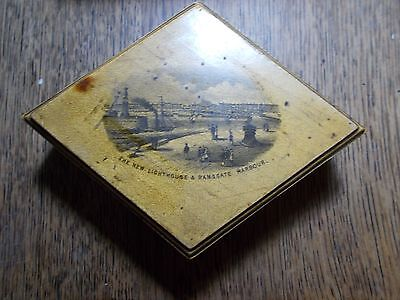 ANTIQUE  MAUCHLINE DIAMOND STAMP NEEDLE BOX NEW LIGHTHOUSE RAMSGATE HARBOUR